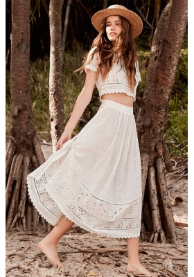 ABIGAIL LACE TIE SIDE SKIRT WHITE BY SPELL & THE GYPSY DESIGNS