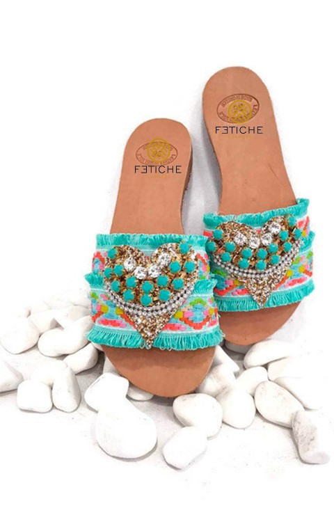 FLAT SANDALS GYPSY TURQUOISE