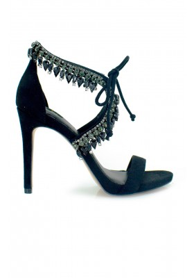 CRYSTALS EMBELLISHED SANDALS BLACK
