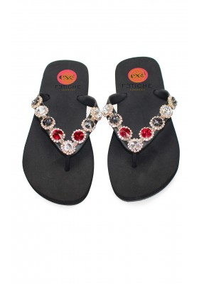 WEDGE FLIP FLOPS WITH CRYSTALS