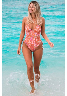 FLOWERCHILD BANDEAU ONE PIECE  Coral  BY SPELL DESIGNS